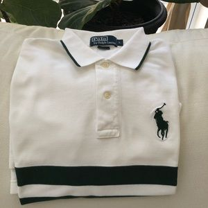 Polo Ralph Lauren white and green striped polo
